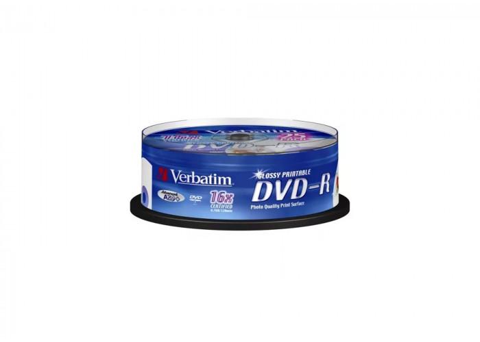 Verbatim 43561 DVD-R Cake 25 Pack Glossy Printable (wyprzedaż)